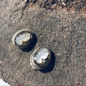 Vintage European 800 silver cameo clip on earrings